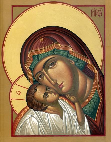 Icono de La Virgen María y el Niño Jesús