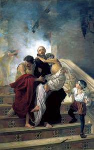 S.Juan de Dios salvando de las llamas a los enfermos - obra de Manuel Gómez Moreno