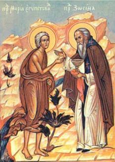 Zósimo da la Eucaristía a María